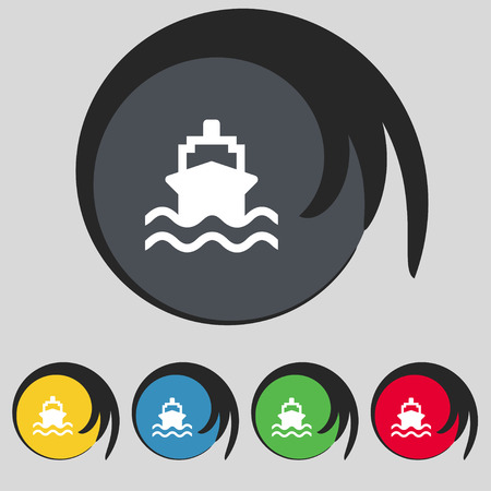 icon buttons: ship icon sign. Symbol on five colored buttons. Vector illustration