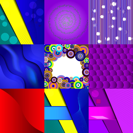 nine: Set of nine different and colorful abstract backgrounds. Illustration