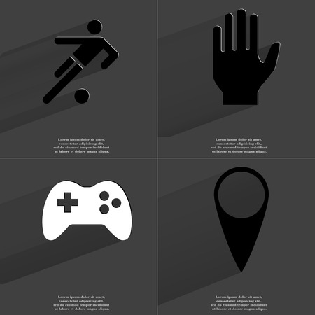 checkpoint: Silhouette of football player, Hand, Gamepad, Checkpoint. Symbols with long shadow. Flat design. Raster copy