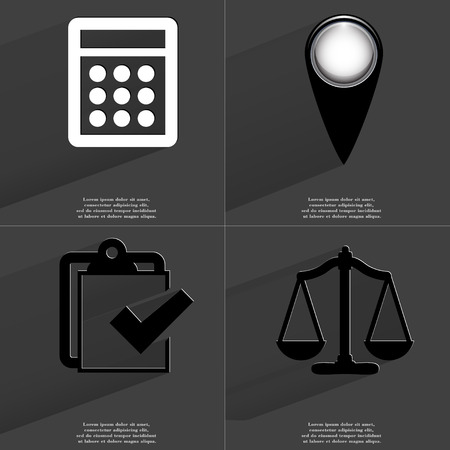 checkpoint: Calculator, Checkpoint, Task completed icon, Scales. Symbols with long shadow. Flat design. Raster copy