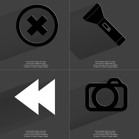 two arrows: Stop sign, Flashligh, Two arrows media icon, Camera. Symbols with long shadow. Flat design. Raster copy