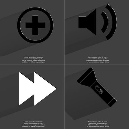 two arrows: Plus sign, Sound icon, Two arrows media sign, Flashlight. Symbols with long shadow. Flat design. Raster copy