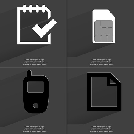 card file: Task completed icon, SIM card, Mobile phone, File icon. Symbols with long shadow. Flat design. Raster copy