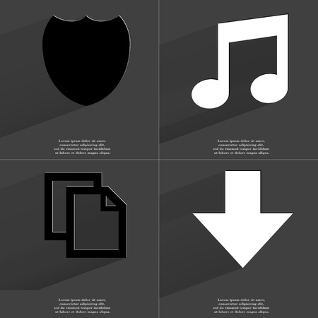 directed: Badge, Note sign, Copy icon, Arrow directed down. Symbols with long shadow. Flat design. Raster copy