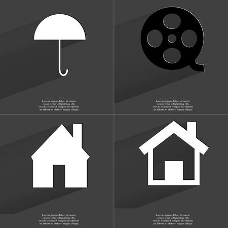 videotape: Umbrella, Videotape, House. Symbols with long shadow. Flat design. Raster copy