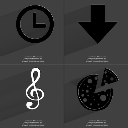 directed: Clock, Arrow directed down, Clef, Pizza. Symbols with long shadow. Flat design. Raster copy