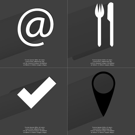 checkpoint: At sign, Fork and knife, Tick sign, Checkpoint. Symbols with long shadow. Flat design. Raster copy
