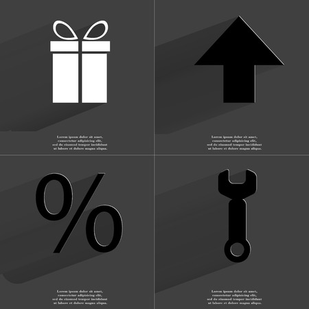 directed: Gift, Arrow directed upwards, Percent sign, Wrench. Symbols with long shadow. Flat design. Raster copy