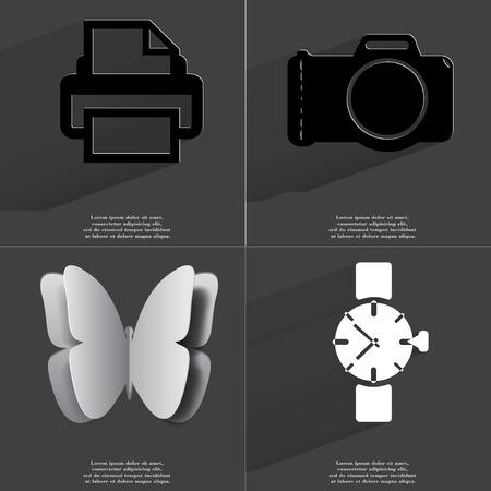 Printer, Camera, Butterfly, Wrist watch. Symbols with long shadow. Flat design. Raster copy Stock Photo