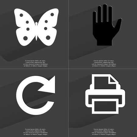 butterfly in hand: Butterfly, Hand, Reload icon, Printer. Symbols with long shadow. Flat design. Raster copy