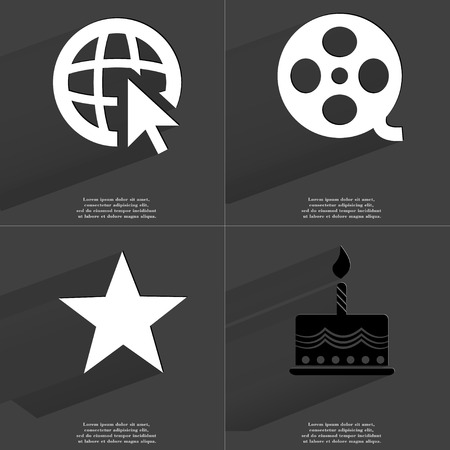 videotape: Web icon with cursor, Videotape, Star, Cake. Symbols with long shadow. Flat design. Raster copy Stock Photo