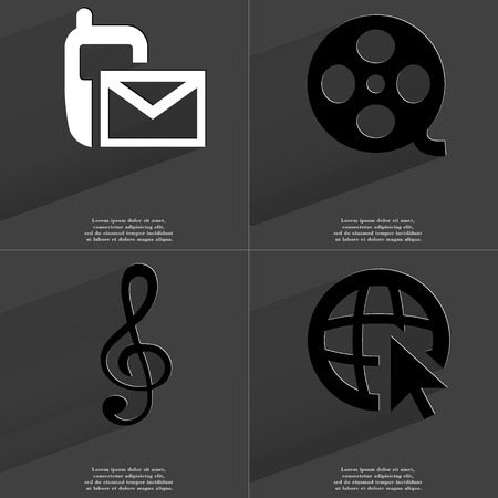 videotape: SMS icon, Videotape, Clef, Web icon with cursor. Symbols with long shadow. Flat design. Raster copy Stock Photo