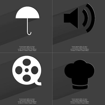 videotape: Umbrella, Sound icon, Videotape, Cooking hat. Symbols with long shadow. Flat design. Raster copy