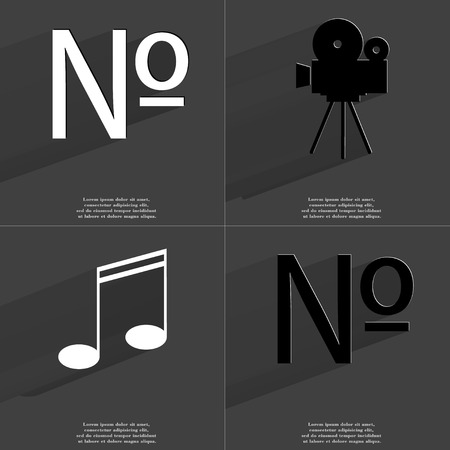 numero: Numero sign, Film camera, Note sign. Symbols with long shadow. Flat design. Raster copy Stock Photo