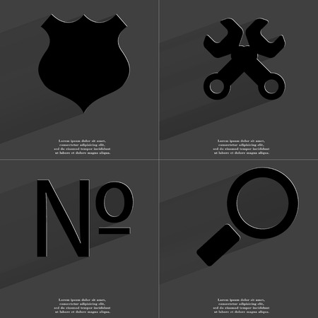 numero: Police badge,  Wrenches, Numero icon, Magnifying glass. Symbols with long shadow. Flat design. Raster copy Stock Photo