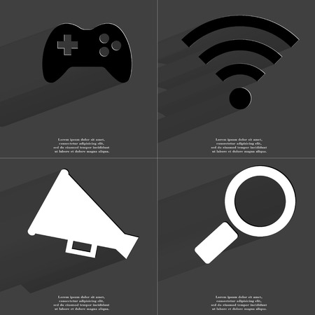 wlan: Gamepad, WLAN icon, Megaphone, Magnifying glass. Symbols with long shadow. Flat design. Raster copy