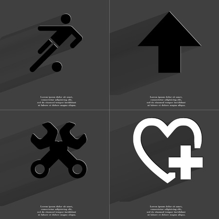 directed: Silhouette of footbal player, Arrow directed upwards, Wrenches, Heart with plus sign. Symbols with long shadow. Flat design. Raster copy