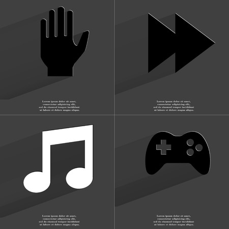 two arrows: Hand, Two arrows media icon, Note sign, Gamepad. Symbols with long shadow. Flat design. Raster copy