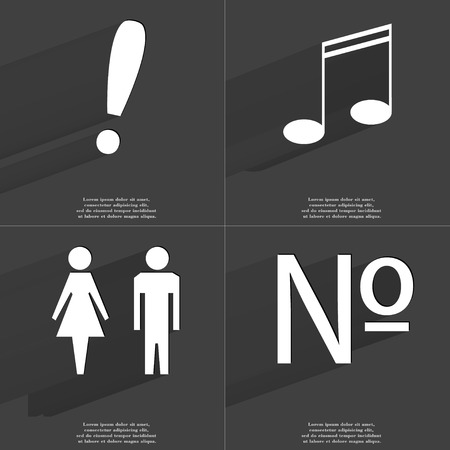 numero: Exclamation mark, Note sign, Silhouette of man and women, Numero sign. Symbols with long shadow. Flat design. Raster copy Stock Photo