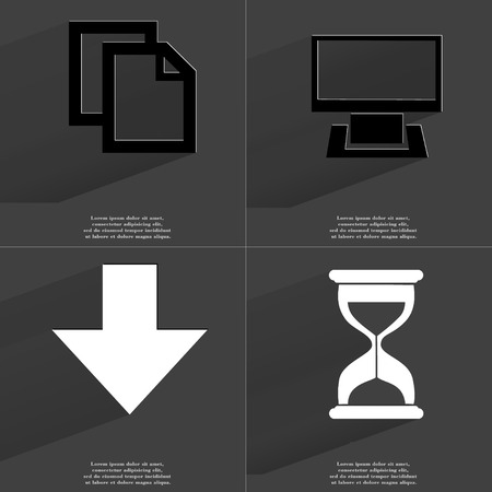 directed: Copy icon, Monitor, Arrow directed down, Hourglass. Symbols with long shadow. Flat design. Raster copy
