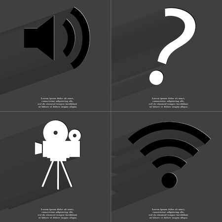 wlan: Sound icon, Question mark, Film camera, WLAN icon. Symbols with long shadow. Flat design. Raster copy