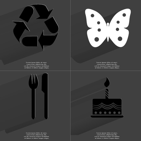 butterfly knife: Recycling icon, Butterfly, Fork and Knife, Cake. Symbols with long shadow. Flat design. Raster copy