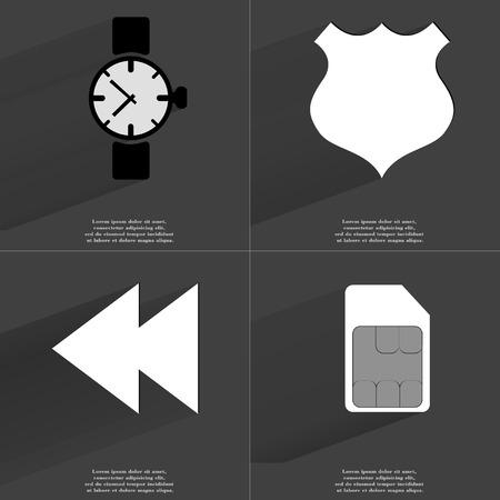 two arrows: Wrist watch, Police badge, Two arrows media icon, SIM card. Symbols with long shadow. Flat design. Raster copy