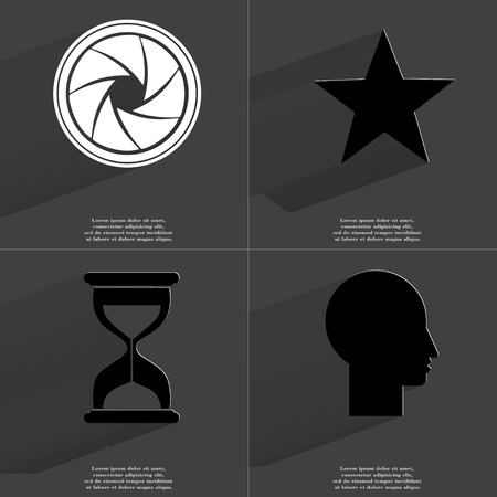 Lens, Star, Hourglass, Silhouette. Symbols with long shadow. Flat design. Raster copy photo