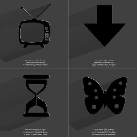 directed: Retro TV, Arrow directed down, Hourglass, Butterfly. Symbols with long shadow. Flat design. Raster copy