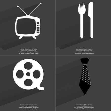 videotape: Retro TV, Fork and knife, Videotape, Tie. Symbols with long shadow. Flat design. Raster copy Stock Photo