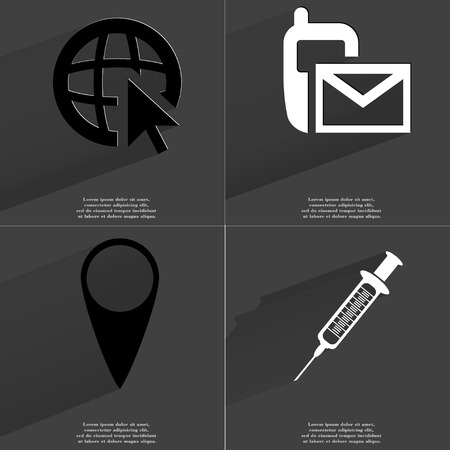 checkpoint: Web icon with cursor, SMS icon, Checkpoint, Syringe. Symbols with long shadow. Flat design. Raster copy