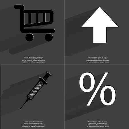 directed: Shopping cart, Arrow directed upwards, Syringe, Percent icon. Symbols with long shadow. Flat design. Raster copy Stock Photo