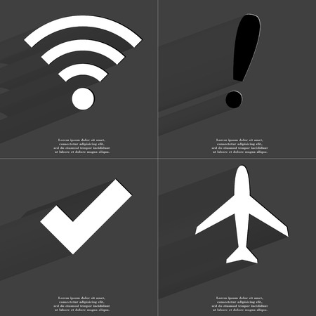 wlan: WLAN icon, Exclamation mark, Tick sign, Airplane. Symbols with long shadow. Flat design. Raster copy