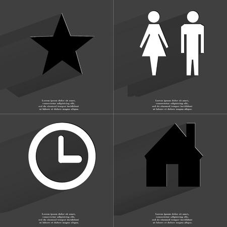woman clock: Estrella, Silueta del hombre y de la mujer, Reloj, House. S�mbolos con larga sombra. Dise�o plano. Copia de la trama