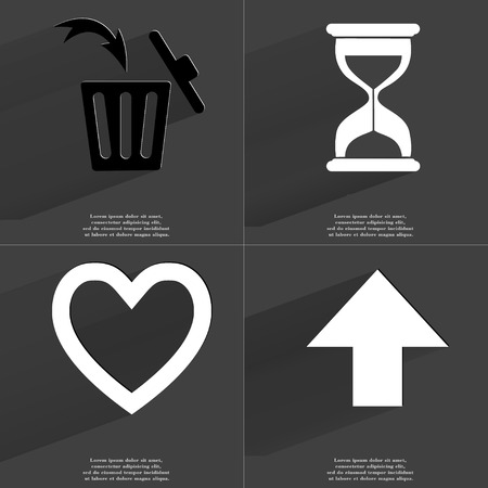 directed: Trash can, Hourglass, Heart, Arrow directed upwards. Symbols with long shadow. Flat design. Raster copy