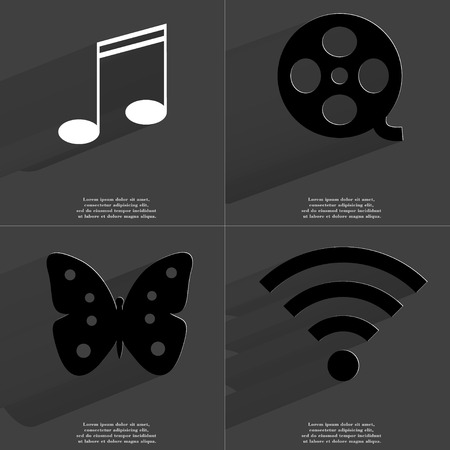 videotape: Note sign, Videotape, Butterfly, WLAN icon. Symbols with long shadow. Flat design. Raster copy Stock Photo