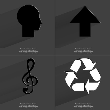 directed: Silhouette, Arrow directed upwards, Clef, Recycling. Symbols with long shadow. Flat design. Raster copy