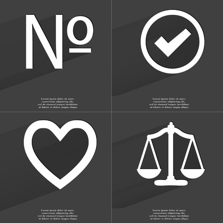 numero: Numero sign, Tick sign, Heart, Scales. Symbols with long shadow. Flat design. Raster copy Stock Photo