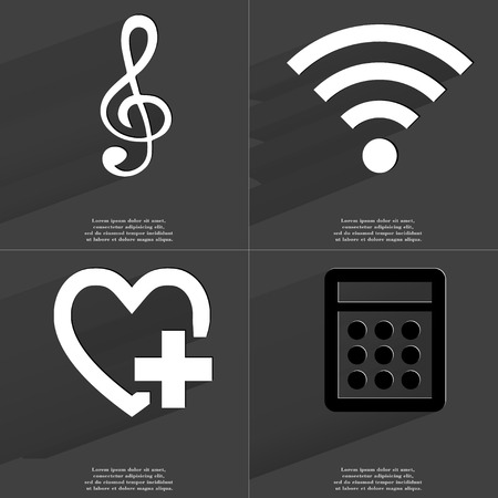 wlan: Clef, WLAN icon, Heart with plus sign, Calculator. Symbols with long shadow. Flat design. Raster copy