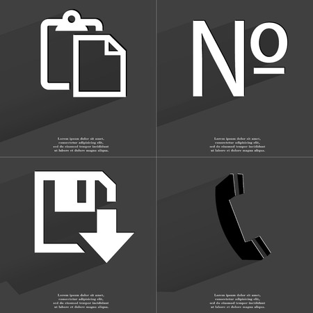 numero: Tasklist, Numero sign, Floppy disk download icon, Receiver. Symbols with long shadow. Flat design. Raster copy