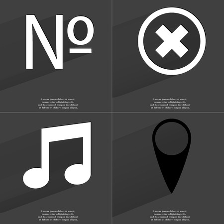 numero: Numero sign, Stop sign, Note sign, Checkpoint. Symbols with long shadow. Flat design. Raster copy Stock Photo