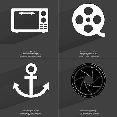 videotape: Microwave, Videotape, Anchor, Lens. Symbols with long shadow. Flat design. Raster copy Stock Photo