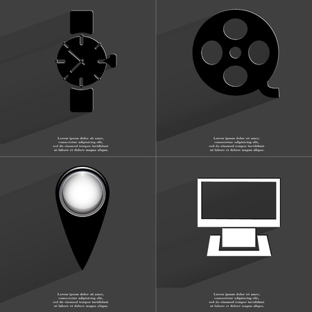 videotape: Wrist watch, Videotape, Checkpoint, Monitor. Symbols with long shadow. Flat design. Raster copy Stock Photo