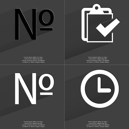numero: Numero sign, Task completed icon, Clock. Symbols with long shadow. Flat design. Raster copy