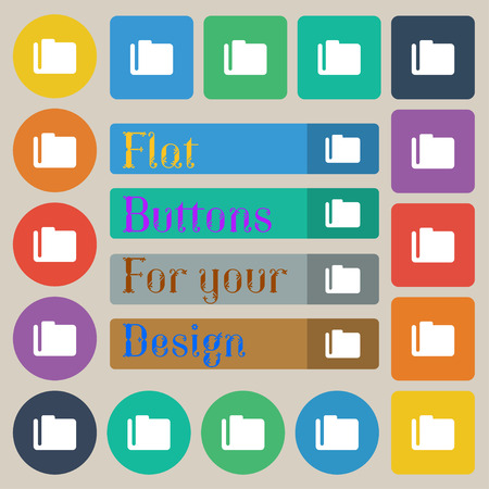map case: Document folder icon sign. Set of twenty colored flat round square and rectangular buttons. Vector Illustration