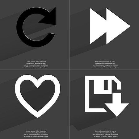 two arrows: Reload icon, Two arrows media icon, Heart, Floppy disk download icon. Symbols with long shadow. Flat design. Raster copy Stock Photo