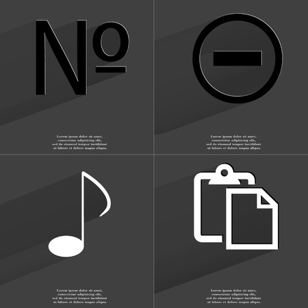 numero: Numero sign, Minus sign, Note sign, Tasklist. Symbols with long shadow. Flat design. Raster copy