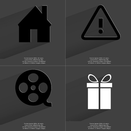 videotape: House, Warning sign, Videotape, Gift. Symbols with long shadow. Flat design. Raster copy