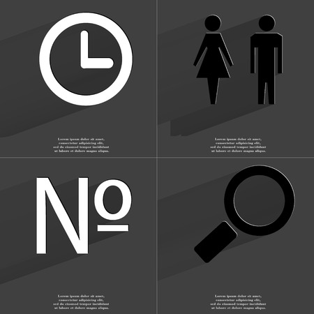 numero: Clock, Silhouette of man and woman, Numero sign, Magnifying glass. Symbols with long shadow. Flat design. Raster copy