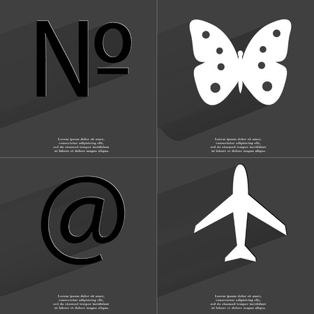 numero: Numero sign, Butterfly, At sign, Airplane. Symbols with long shadow. Flat design. Raster copy